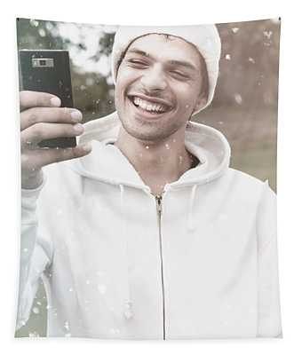 British Man On Smartphone Call In Winter Snow Tapestry