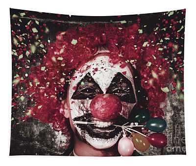 Carnival Clown With Balloon Cake Decoration Tapestry
