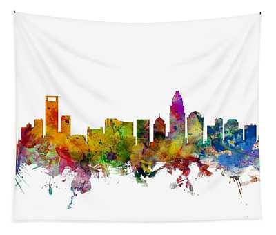 Charlotte North Carolina Skyline Tapestry