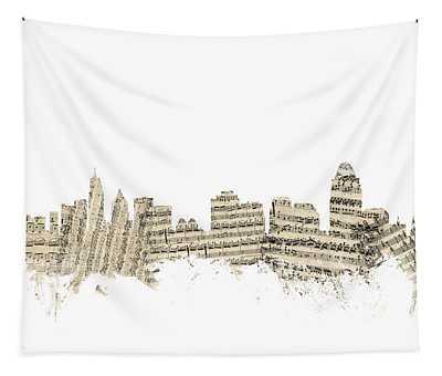 Cincinnati Ohio Skyline Sheet Music Cityscape Tapestry