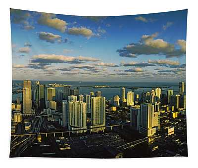 Clouds Over The City Skyline, Miami Tapestry