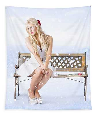 Cold And Lonely Winter Woman Sitting All Alone Tapestry