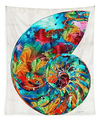 Colorful Nautilus Shell By Sharon Cummings Tapestry