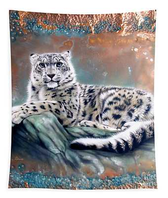 Copper Snow Leopard Tapestry