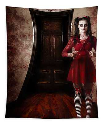 Creepy Woman With Bloody Scissors In Haunted House Tapestry