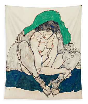 Crouching Woman With Green Headscarf Tapestry
