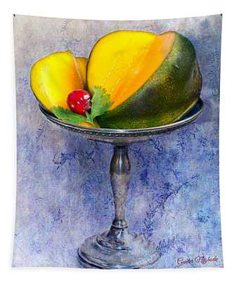 Cut Mango On Sterling Silver Dish Tapestry
