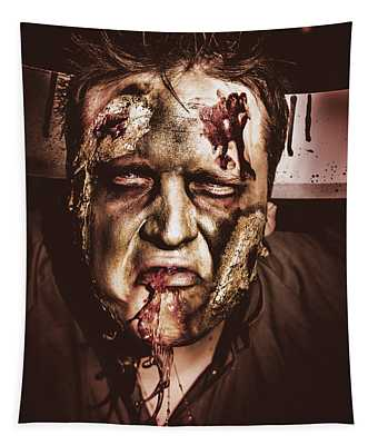 Dark Scary Halloween Zombie With Bloody Mouth Tapestry