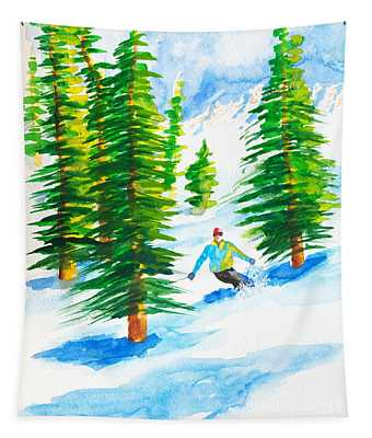 David Skiing The Trees  Tapestry
