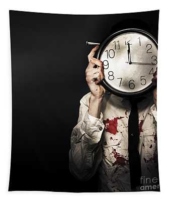 Dead Business Person Holding End Of Time Clock Tapestry