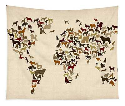 Dogs Map Of The World Map Tapestry