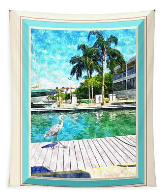 Dry Dock Bird Walk - Digitally Framed Tapestry