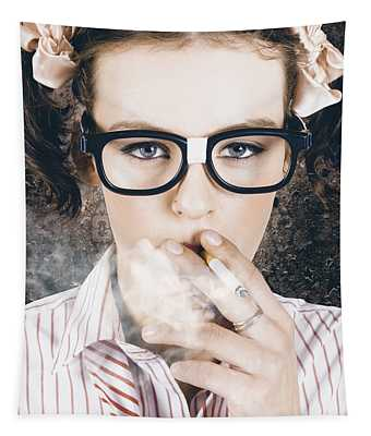 Edgy Grunge Portrait Of A Smoking Hipster Nerd Tapestry