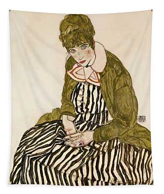 Edith With Striped Dress Sitting Tapestry