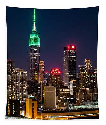Empire State Building On Saint Patrick's Day Tapestry