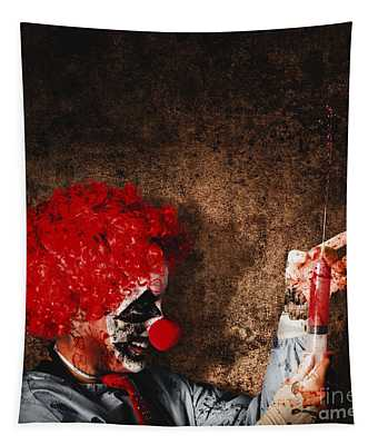 Evil Halloween Clown With Big Scary Needle Tapestry