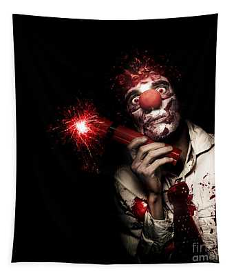 Evil Male Business Clown Holding Explosive Bomb Tapestry