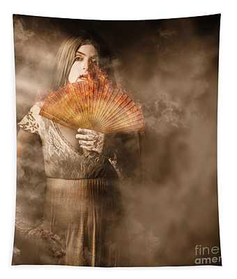 Fantasy Fine Art Portrait. Elegant Vampire Woman Tapestry