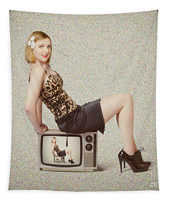 Female Television Show Actress On Old Tv Set Tapestry