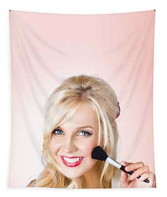 Fresh Faced Makeup Girl With Cosmetic Brush Tapestry