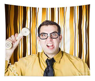 Frustrated Male Office Worker Yelling With Phone Tapestry