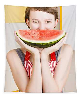 Funny Woman With Juicy Fruit Smile Tapestry