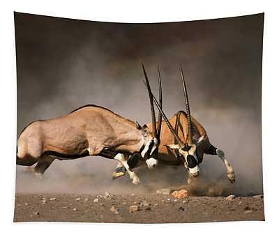 Gemsbok Fight Tapestry