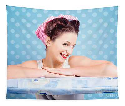 Happy 60s Pinup Housewife On Blue Ironing Board Tapestry