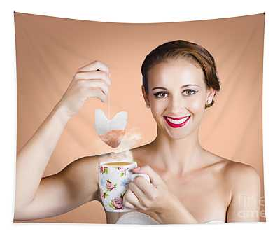 Happy Beautiful Pin Up Girl Drinking Tea Or Coffee Tapestry