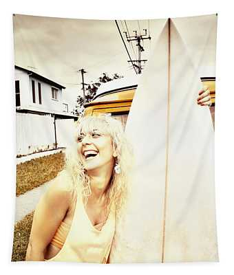 Happy Retro Surfer Tapestry