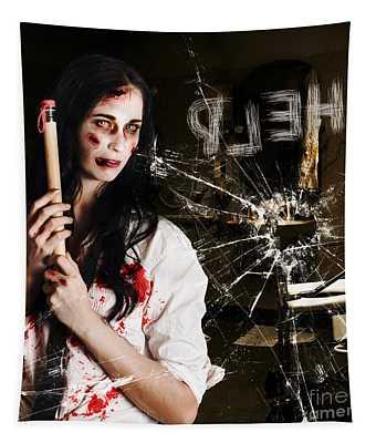 Help. Creepy Hospital Patient In Horror Asylum Tapestry