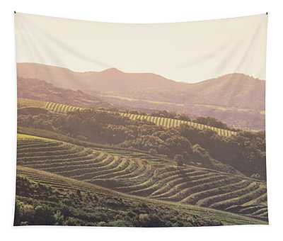 High Angle View Of A Vineyard Tapestry