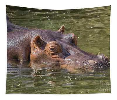 Hippo In Water Tapestry