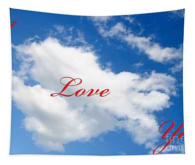 1 I Love You Heart Cloud Tapestry