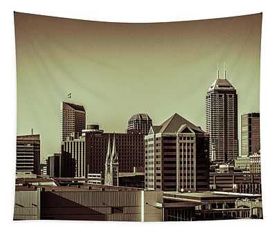 Indianapolis Skyline - Black And White Tapestry