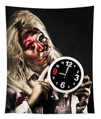 Late Zombie Woman Holding Clock. Passing Time Tapestry