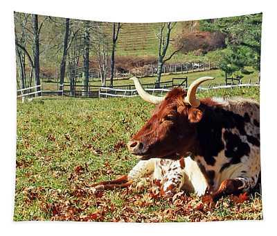 Lazy Morning Bull Tapestry