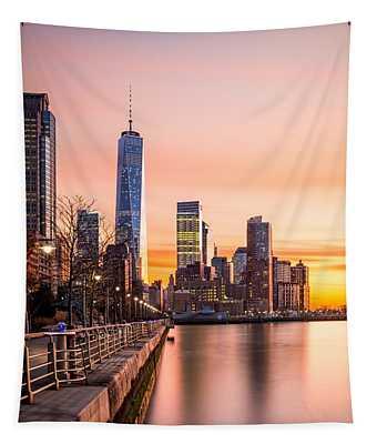 Lower Manhattan At Sunset Tapestry