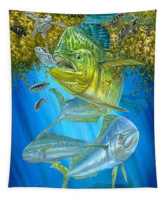 Mahi Mahi Hunting In Sargassum Tapestry