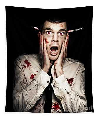 Male Zombie Businessman Displaying Shock Horror Tapestry