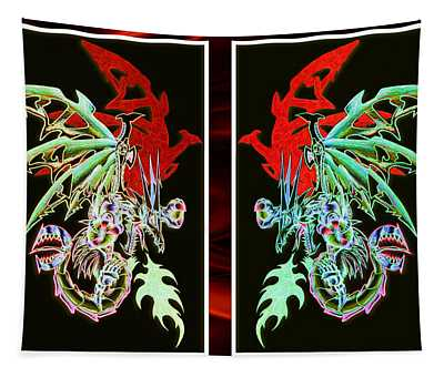Mech Dragons Pastel Tapestry