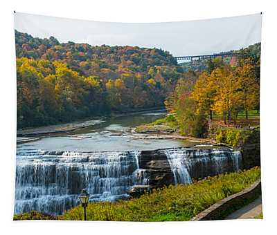 Middle Falls In Autumn, Letchworth Tapestry