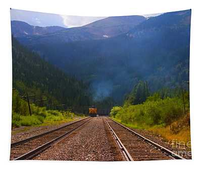 Misty Mountain Train Tapestry