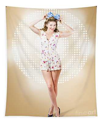 Modelling Pinup Girl Wearing Bow Hair Accessory Tapestry