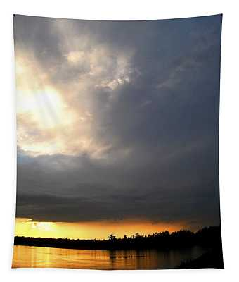 Mountain Lake Sunset Pocono Region Pennsylvania  Tapestry
