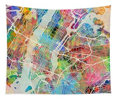 New York City Street Map Tapestry