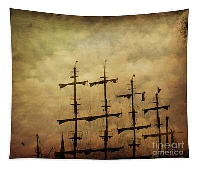 Old Pirate Ship Tapestry