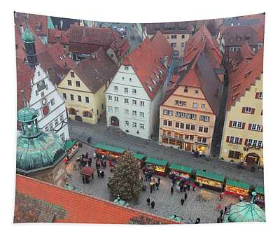 Overhead View Of The Christmas Market Tapestry