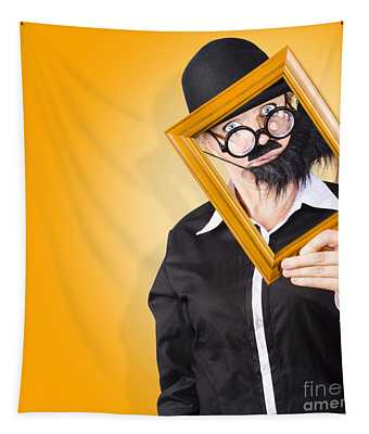 Person Setting Their Social Media Profile Picture Tapestry