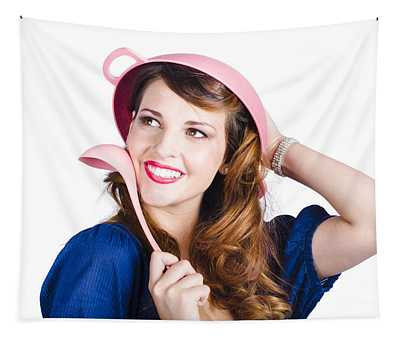 Pinup Cook In Funny Pose Tapestry